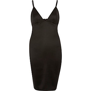 Black plunge bodycon mini dress