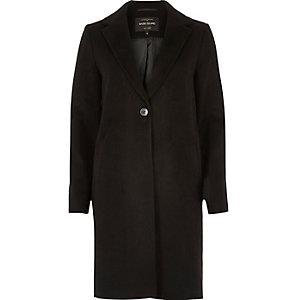 Black wool overcoat