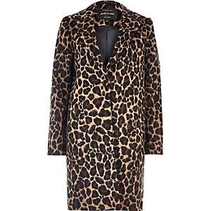 Brauner, klassischer Wollmantel mit Leopardenmuster