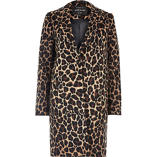 Brown leopard print overcoat