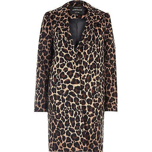 Brown leopard print wool overcoat