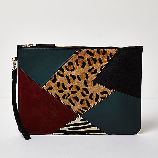 Green patchwork leather pouchette bag