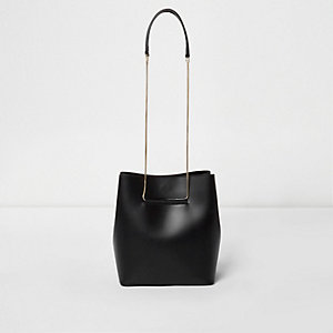 Black leather chain bucket handbag