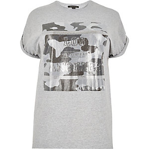 RI Plus grey metallic print t-shirt