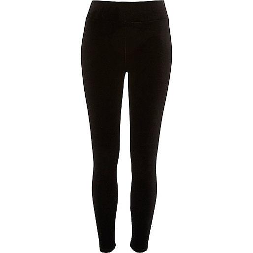 Legging en velours noirs à taille haute