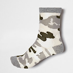 Grey camo mesh ankle socks