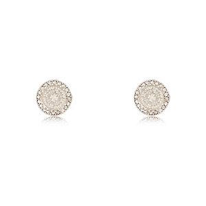 White silver tone filigree stud earrings