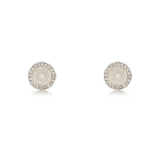 White silver tone filigree stud earrings