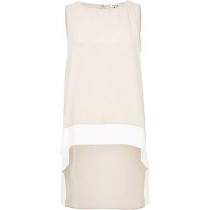 Light pink colour block hem longline vest