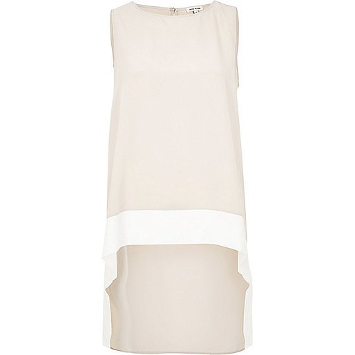 Light pink color block hem longline tank
