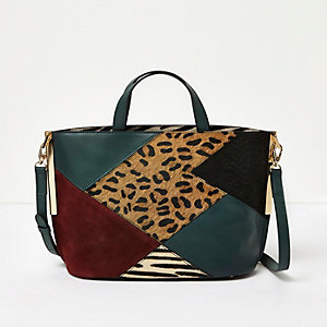 Green patchwork leather tote bag