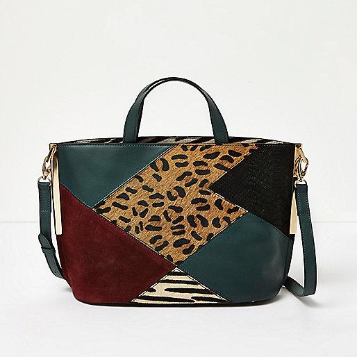 Grüne Tote Bag aus Leder mit Patchwork-Design