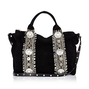 Black suede embellished bowler bag