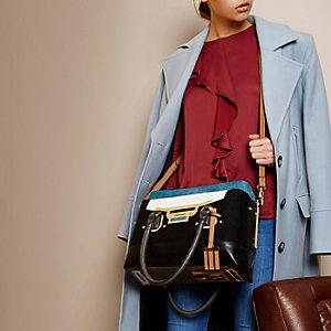 RI Studio black block felt tote handbag