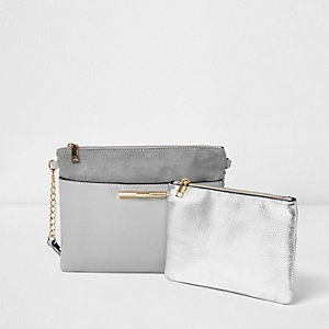 Grey cross body bag with purse