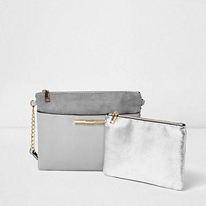 Sac à bandoulière gris avec porte-monnaie
