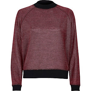 Pink metallic knit sporty sweater