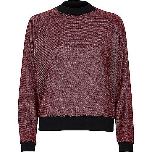 Pink metallic knit sporty sweater