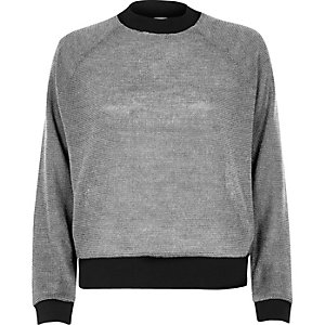 Silver metallic knit sporty sweater