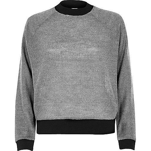 Silver metallic knit sporty jumper