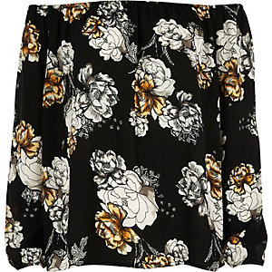 Black floral print bardot top