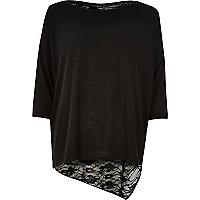 Black asymmetric lace back sweater