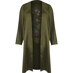 RI Plus khaki green embroidered duster