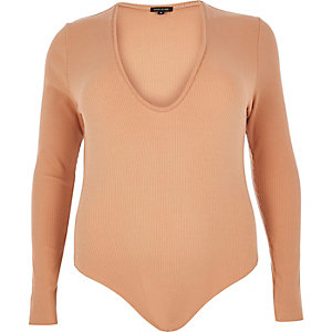 RI Plus nude ribbed plunge bodysuit
