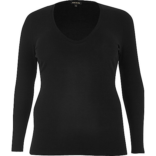 RI Plus black ribbed plunge top
