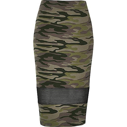 Khaki camo mesh panel tube skirt