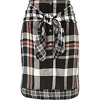 Black check tied waist midi skirt
