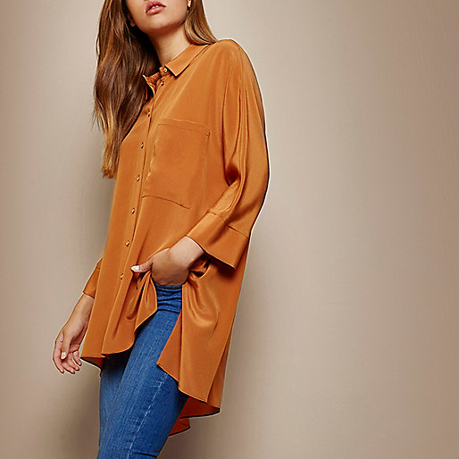 RI Studio orange longline silk shirt