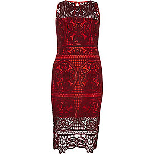 Dark red lace bodycon dress