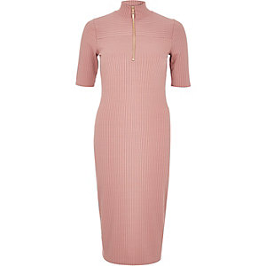 Pink ribbed zip front dress