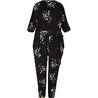 RI Plus black floral print jumpsuit