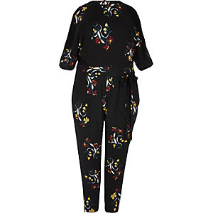 RI Plus black floral print jumpsuit