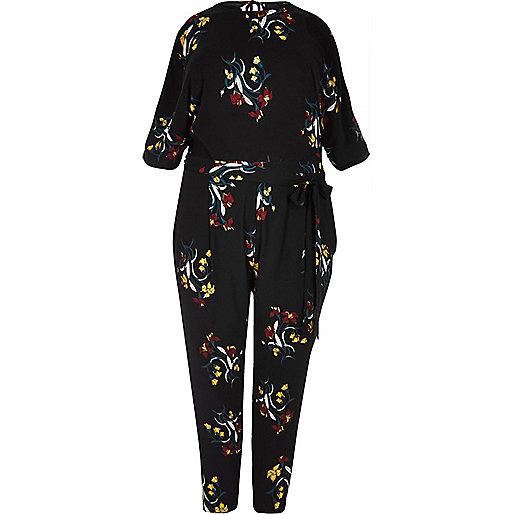 Plus black floral print jumpsuit