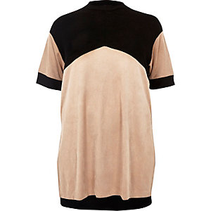 RI Plus blush pink color block tunic