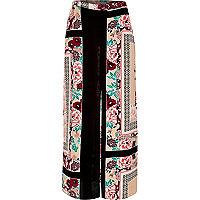 Pink oriental print split maxi skirt