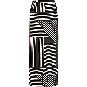 Green stripe print maxi skirt