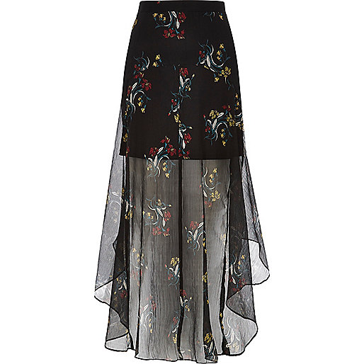 Robe longue en mousseline à fleurs noire