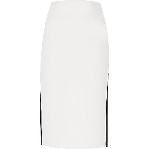 White side stripe pencil skirt