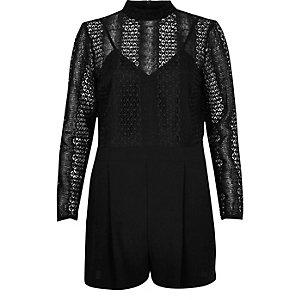 Black lace top playsuit
