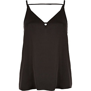 Black satin strap back cami