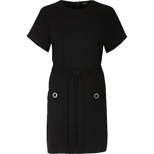 Black eyelet pocket dress
