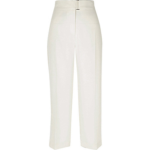 Cream D-ring cropped trousers