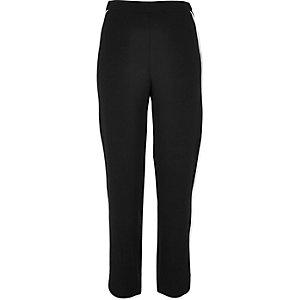 Black contrast stripe joggers