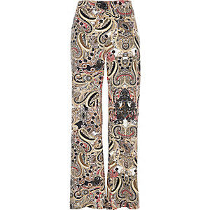 Cream print wide leg trousers
