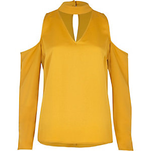 Dark yellow cold shoulder choker blouse