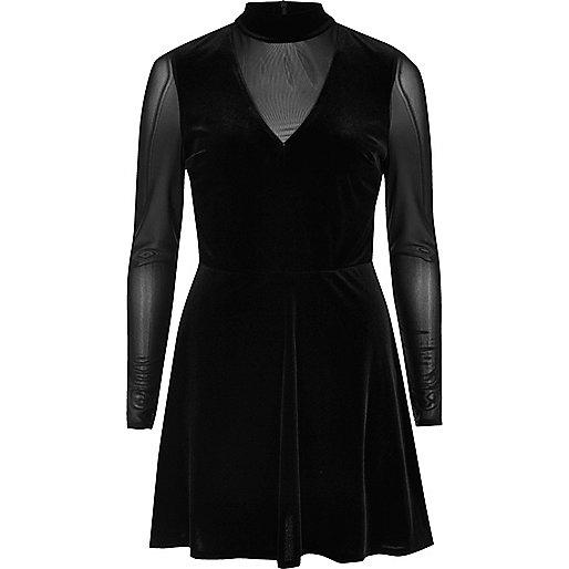Black velvet mesh long sleeve skater dress